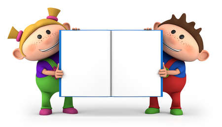 two children: cute little cartoon kids with blank open book - high quality 3d illustration Stock Photo