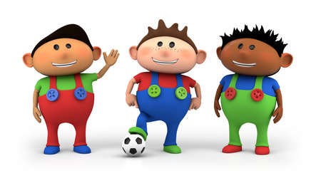 three children: cute little multiethnic cartoon boys with football - high quality 3d illustration