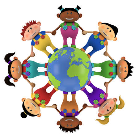 cute little multiethnic cartoon kids holding hands around globe - high quality 3d illustration