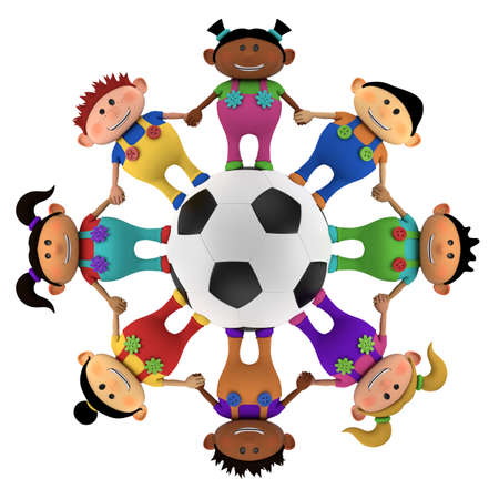 multiethnic: cute little multiethnic cartoon kids holding hands around a big football - high quality 3d illustration Stock Photo