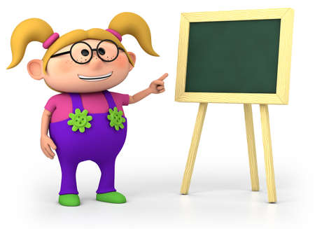 cute little cartoon school girl with blackboard - high quality 3d illustration
