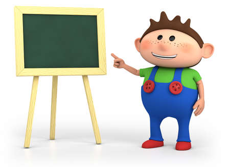 cute little cartoon boy with blackboard - high quality 3d illustration illustration