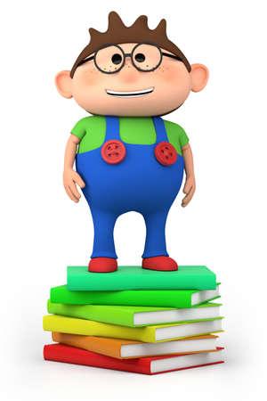 cute little cartoon boy standing on stack of books - high quality 3d illustration 版權商用圖片