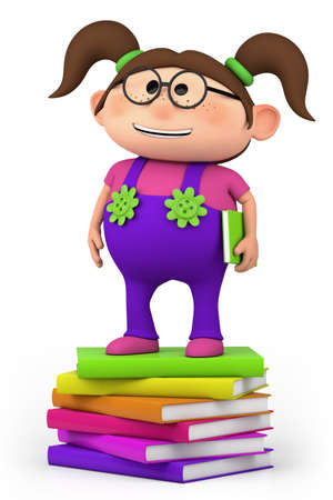 cute little cartoon girl standing on stack of books - high quality 3d illustration