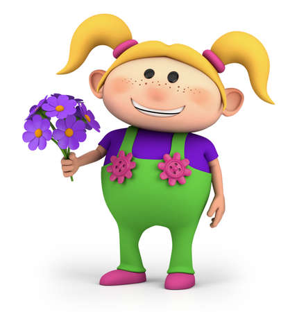 cute little cartoon girl with bouquet of flowers - high quality 3d illustration 版權商用圖片