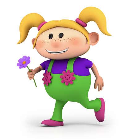 cute little cartoon girl running with flower - high quality 3d illustration 版權商用圖片