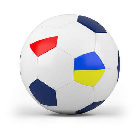 football with polish and ukrainian flag - high quality 3d illustration 版權商用圖片