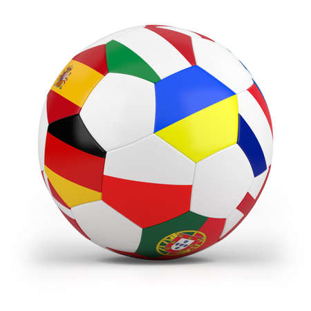 football with european flags - high quality 3d illustration