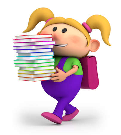 schoolgirl: cute little cartoon girl carrying books - high quality 3d illustration
