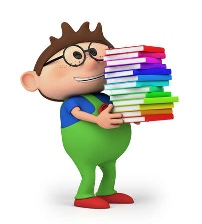 cute little cartoon boy carrying books  - high quality 3d illustration illustration