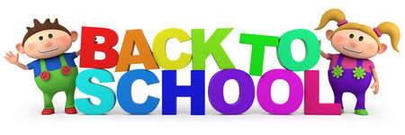 school students: cute little cartoon kids with back to school letters  - high quality 3d illustration Stock Photo