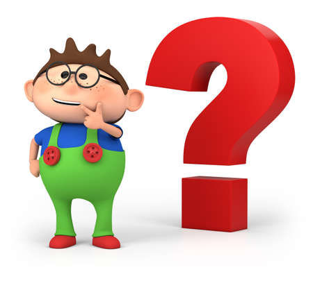 cute little cartoon boy with big questionmark - high quality 3d illustration