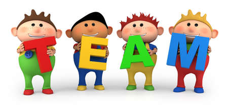 cute little cartoon boys holding TEAM letters - high quality 3d illustration