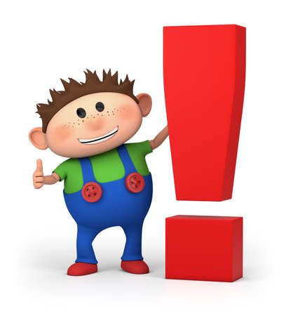 cute little cartoon boy with exclamation mark - high quality 3d illustration 版權商用圖片