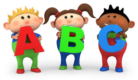 cute little cartoon kids holding ABC letters - high quality 3d illustration