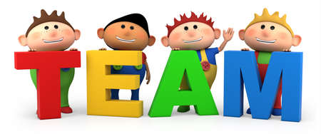 multicultural group: cute little cartoon boys with TEAM letters - high quality 3d illustration