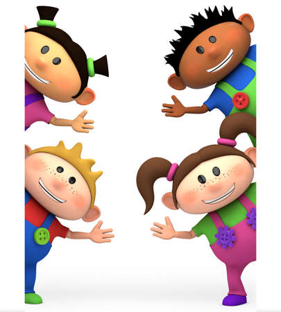 multiethnic: cute little cartoon kids waving from behind blank sign - high quality 3d illustration Stock Photo