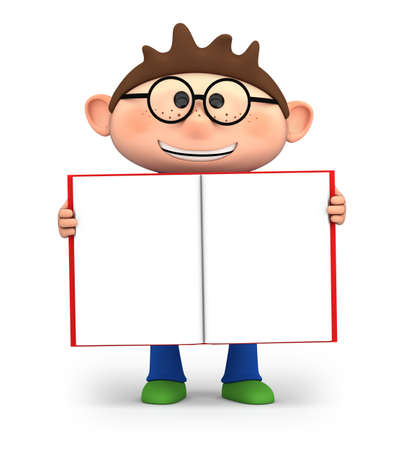 children book: cute little cartoon boy holding an open book - high quality 3d illustration Stock Photo