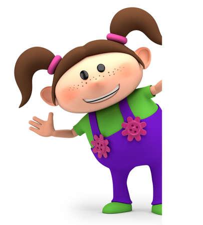 schattige kleine cartoon meisje zwaaien van achter blanco teken - hoge kwaliteit 3D-afbeelding Stockfoto