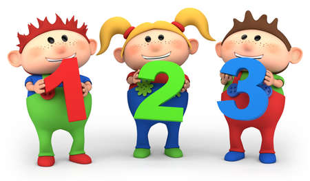 three persons: cute little cartoon kids with 123 numbers - high quality 3d illustration