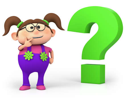 cartoon thinking: cute little cartoon girl with question mark - high quality 3d illustration Stock Photo