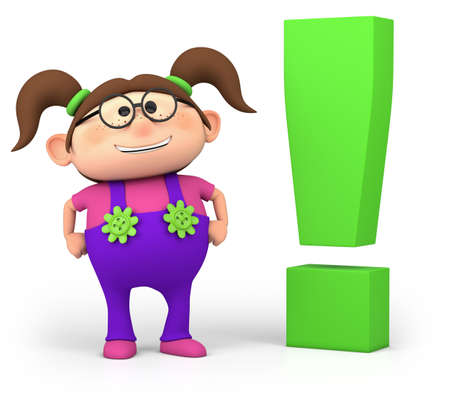 one girl: cute little cartoon girl with exclamation mark - high quality 3d illustration