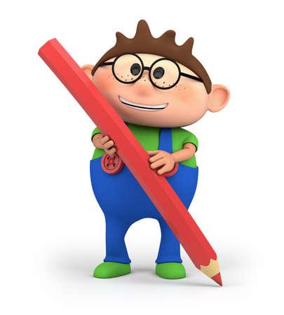 cute little cartoon boy holding a red pencil - high quality 3d illustration