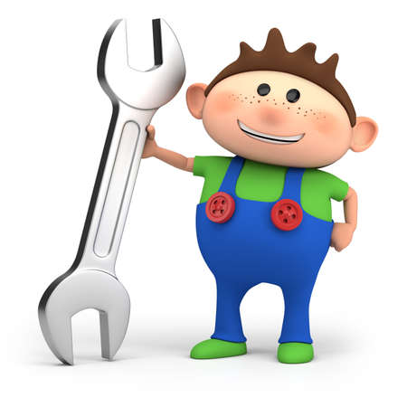 cute little cartoon boy with wrench - high quality 3d illustration