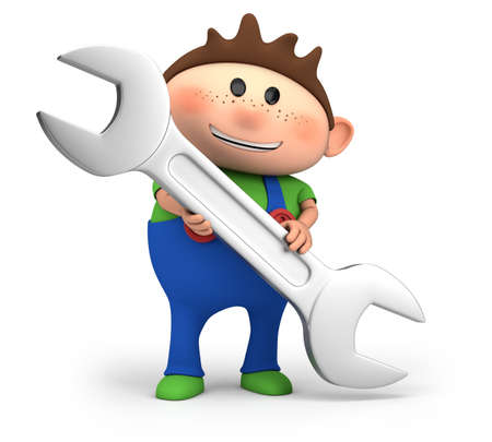 cute little cartoon boy holding wrench - high quality 3d illustration illustration