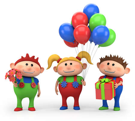 colored balloons: cute cartoon kids with birthday presents - high quality 3d illustration