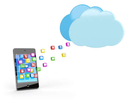 smart phone with app icons and cloud - high quality 3d illustration 版權商用圖片