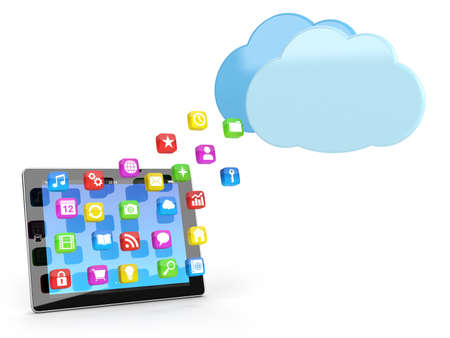 digital tablet pc with app icons and cloud - high quality 3d illustration illustration