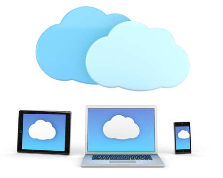 laptop computer and tablet pc and smart phone with cloud icon - high quality 3d illustration