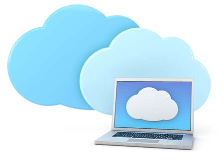 syncing: laptop computer with cloud icon - high quality 3d illustration