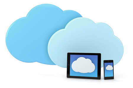 mobile phone and tablet with cloud icon - high quality 3d illustration