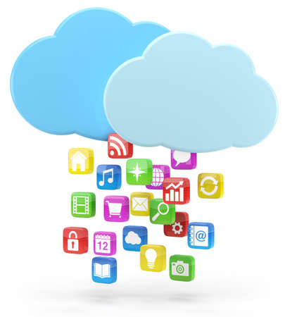 syncing: colorful app icons and cloud - high quality 3d illustration Stock Photo