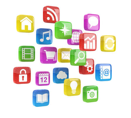 many colored: colorful app icons - high quality 3d illustration