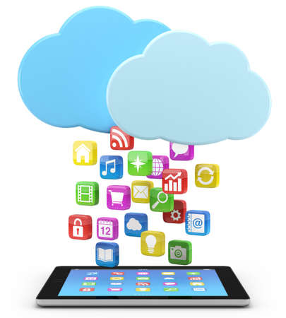syncing: digital tablet pc with app icons and cloud - high quality 3d illustration Stock Photo