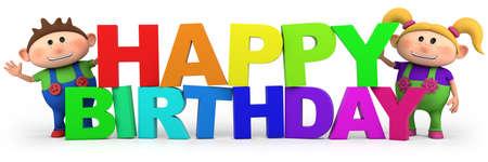 kids birthday party: Happy Birthday slogan with cute cartoon kids - high quality 3d illustration