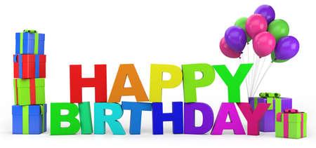 globos de cumplea�os: Lema del feliz cumplea�os con regalos y globos - ilustraci�n 3d de alta calidad