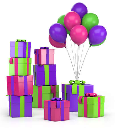 colored balloons: piles of presents and balloons - high quality 3d illustration Stock Photo