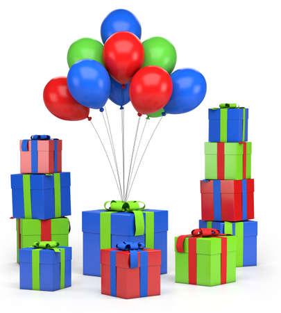piles of presents and balloons - high quality 3d illustration 版權商用圖片