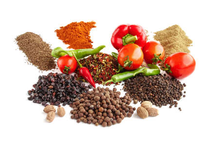 barberry: Composition with various spices, tomato, peppers on a white background