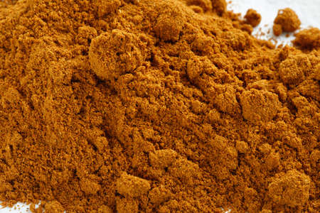 flavoring: top view of cayenne pepper heap and glass jar Stock Photo