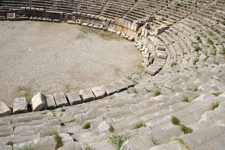 roman amphitheater: The ancient Roman amphitheater ruins. Attractions Turkey.