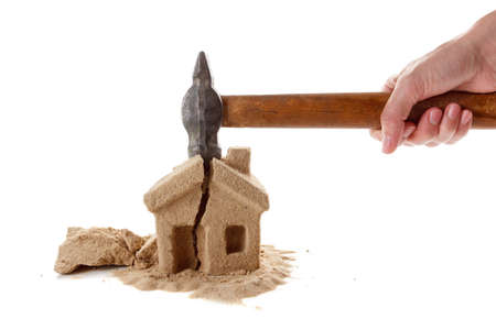 The division of property upon divorce. Unsuccessful mortgages, a lot of debt. Seizure of property. Stock Photo