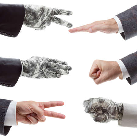 illegal trading: Business strategy concept - Rock Paper Scissors. symbol of victory and the right investment