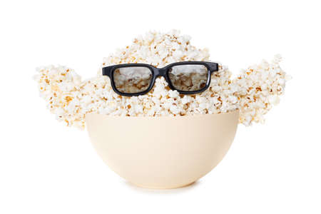 farce: Smiling Monster of popcorn, glasses. Cinema, the audience watching comedy humor. Isolated on white Stock Photo