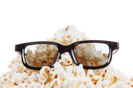 farce: Smiling Monster of popcorn, glasses. Cinema, comedy humor. Isolated on white