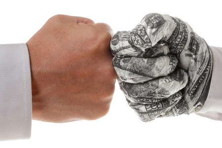 confrontation: Two fists rivals - a symbol of the confrontation in the business